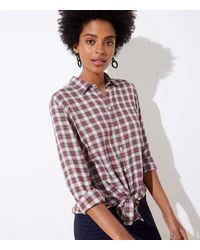LOFT Plaid Button Down Tunic Shirt - Multicolour