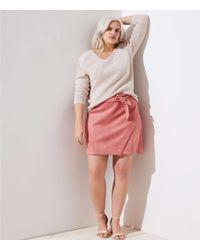 LOFT - Plus Faux Suede Wrap Skirt - Lyst