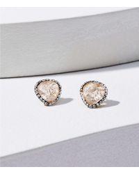 LOFT Pave Stone Stud Earrings - Metallic