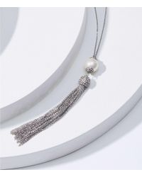 LOFT - Pearlized Crystal Tassel Necklace - Lyst