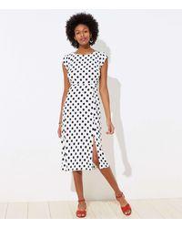LOFT Polka Dot Cap Sleeve Midi Dress - White