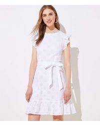LOFT Eyelet Ruffle Flare Dress - White