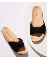 LOFT - Bow Slide Sandals - Lyst