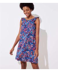 LOFT - Floral Paisley Ruffle Swing Dress - Lyst