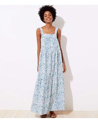 LOFT Beach Floral Tie Back Maxi Dress - Blue