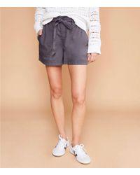 LOFT Poplin Tie Waist Shorts - Gray