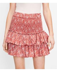 LOFT Palm Smocked Tiered Skirt