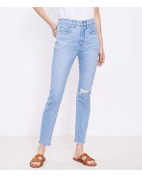 LOFT Petite Destructed High Rise Skinny Ankle Jeans In Vivid Light Indigo Wash - Blue