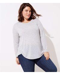 LOFT Plus Striped Long Sleeve Shirttail Tee - Grey