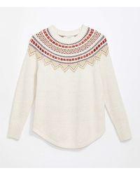 LOFT Maternity Fairisle Shirttail Jumper - White