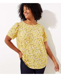 LOFT Plus Floral Puff Sleeve Button Back Top - Yellow