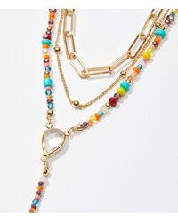 LOFT Mixed Beaded Y Necklace Set - Metallic