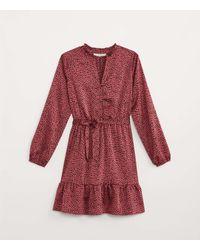 LOFT Animal Print Flounce Shirtdress - Red