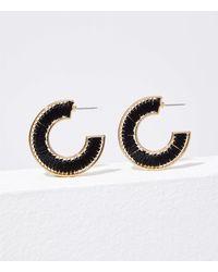 LOFT Fabric Hoop Earrings - Black