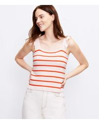 LOFT Striped Ruffle Strap Sweater Tank - Pink