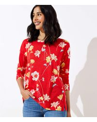 LOFT Lily Ballet Neck Sweater - Red