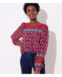 LOFT Border Floral Blouse - Red