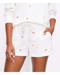LOFT Petite Lou & Grey Bbq Cosy Cotton Terry Shorts - White
