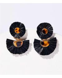 LOFT Raffia Drop Earrings - Black