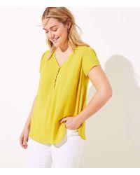 LOFT Plus Buttoned Petal Sleeve Top - Yellow