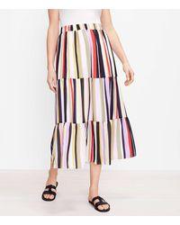 LOFT Petite Striped Tiered Pocket Maxi Skirt - Multicolour