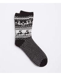 LOFT Reindeer Fairisle Cosy Socks - Black