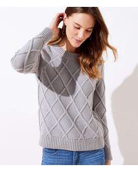 LOFT Diamond Cable Sweater - Multicolor