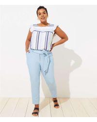 LOFT Plus Slim Tie Waist Pencil Pants - Blue
