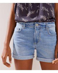LOFT - Denim Roll Shorts In Original Mid Indigo Wash - Lyst