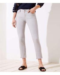 LOFT - Curvy Frayed Skinny Crop Jeans - Lyst