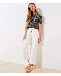 LOFT High Rise Wide Leg Crop Jeans In Popcorn - White