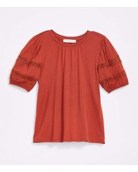 LOFT Lace Trim Puff Sleeve Top - Red