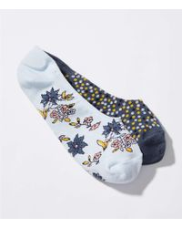 LOFT - Dot & Flower No Show Sock Set - Lyst