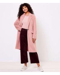LOFT Cozy Herringbone Coat - Pink
