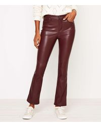 LOFT Faux Leather Flare Crop Jeans In Black - Red