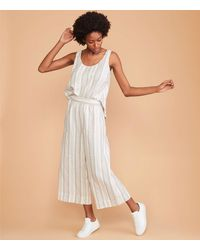 LOFT Lou & Grey Striped Wide Leg Linen Trousers - Multicolour