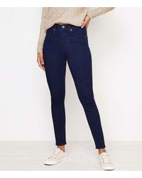 LOFT High Waist Skinny Jeans In Dark Rinse - Blue