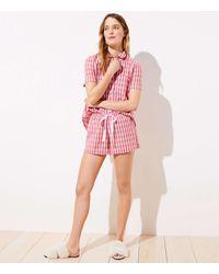 LOFT Gingham Pajama Shorts - Pink