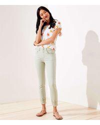 LOFT Eyelet Hem Slim Pocket Skinny Crop Jeans In Matcha Latte - Multicolour