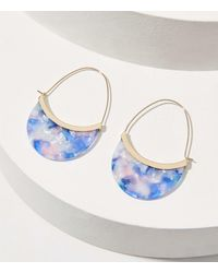 LOFT Resin Pull Through Hoop Earrings - Blue