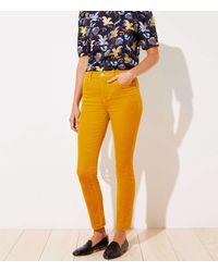 LOFT High Waist Corduroy Skinny Trousers - Yellow