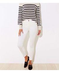 LOFT High Waist Corduroy Skinny Trousers - White