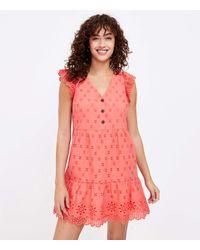 LOFT Eyelet Tiered Swing Dress - Multicolour