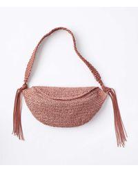 LOFT Tasselled Straw Sling Bag - Pink