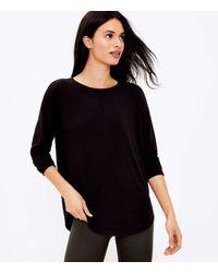 LOFT Lou & Grey Ribbed Signaturesoft Jersey Shirttail Top - Black