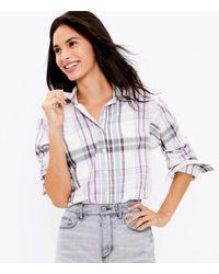 LOFT Plaid Flannel Pocket Tunic Shirt - Multicolour