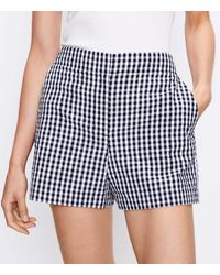 LOFT Structured Shorts In Gingham - Blue
