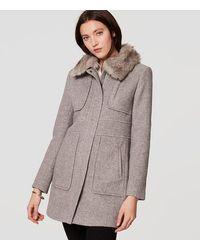 LOFT - Faux Fur Trim Coat - Lyst