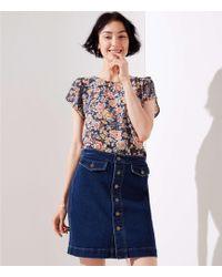 LOFT - Petite Button Denim Skirt - Lyst
