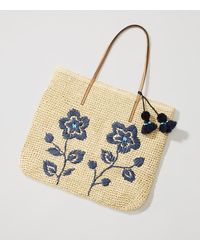 LOFT - Floral Embroidered Straw Tote - Lyst